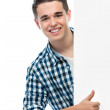 Teenager holds a blank board — Stock Photo