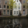 Bicycle near canal, leiden — Stock Photo