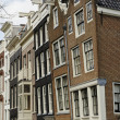 Stock Photo: Leaning old facades, amsterdam