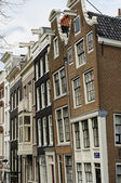 Leaning old facades, amsterdam — Stock Photo