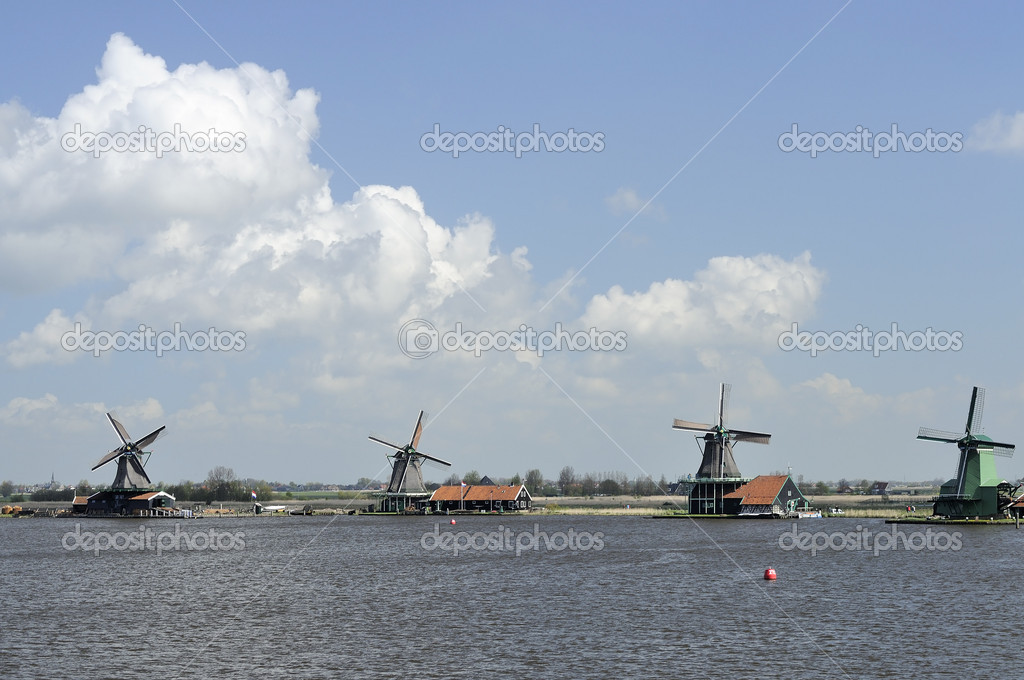 View of traditional windmills at touristic location, shot in bright spring light — Stock Photo #11082768