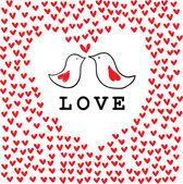 Doodle bird's couple among hearts. — 图库矢量图片