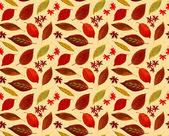 Pattern of colorful leaves in autumn, any extendable, yellow background — Stock Photo