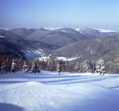 Panoramic view of winter in the low mountain 01 — Stock Photo