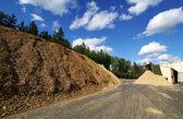 青い空を背景に木製の燃料の貯蔵とバイオ発電所 — ストック写真