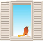 Illustration of open window with bird — Stock Vector