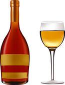 Fles wijn — Stockvector