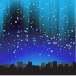 Stock Vector: City at night. starry sky.