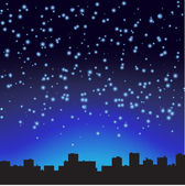 City at night. The starry sky. — Stock Vector