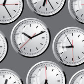 Wall clock. Vector illustration. Seamless. — Stock Vector