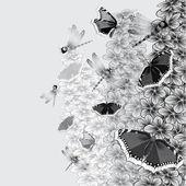 Kelebekler ve yusufçuk ile ağacı. — Stok Vektör