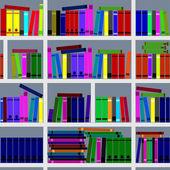 Bookshelves. Seamless texture. — Stock Vector