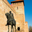 The castle in Gyula with sculpture of a knight — Stock Photo