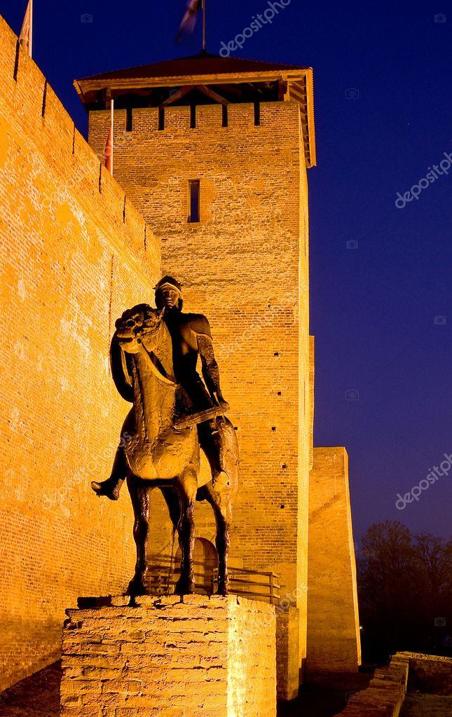 Sculpture of a knight before the castle in Gyula at twilight, Hungary — Stock Photo #10774996
