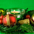 Stock Photo: Christmas ornaments on green background