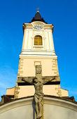 Katolická církev s křížem — Stock fotografie