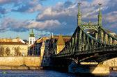 在布达佩斯纫弗朗茨 · 约瑟夫桥 — 图库照片