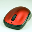Wireless red optical mouse - Stock Photo