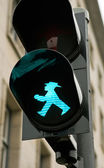 The green Ampelmann in Berlin — Stock Photo