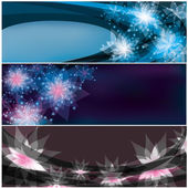 Set of bright horizontal floral banners — Stock Vector
