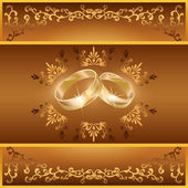 Wedding greeting or invitation card with rings — Stock Vector