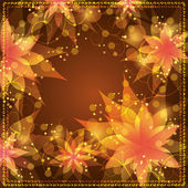 Floral background with decorative golden ornament — Stock Vector