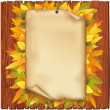 Autumn background with old paper and yellow leaves — Stock Vector