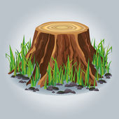 Tree stump with green grass isolated — Stock Vector
