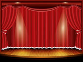 Theater stage with red curtain and spotlight, vector — Stock Vector