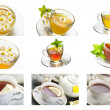 Collage of chamomile and tea — Stock Photo