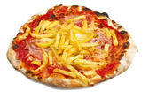 Pizza with ham and chips — Stock Photo