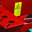 Industrial and agricultural equipment with warning sign 1 - Stock Photo