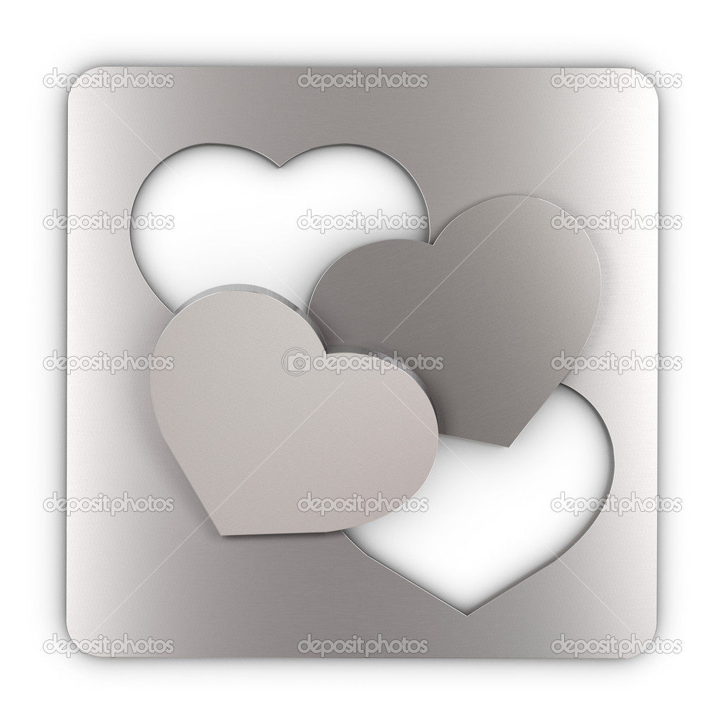 Two heart cut into a sheet metal and and laid one over the other, square image. concept of love — Stockfoto #10886338