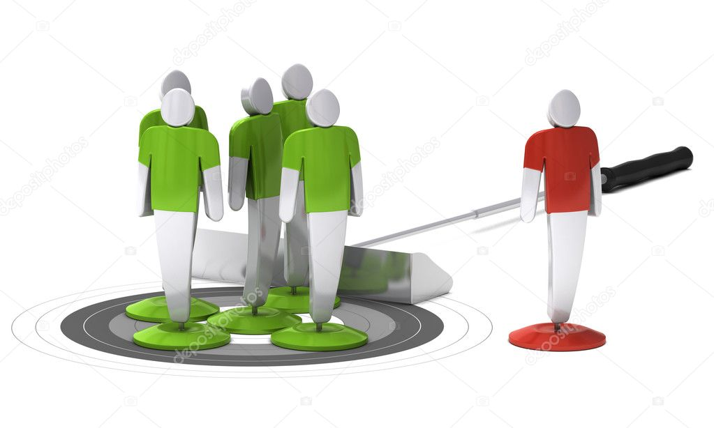 Green 3d characters onto a grey target and one red character outside of the target, white background — Stock Photo #10912424