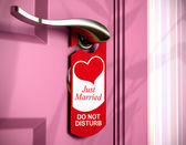 Just married, door hanger, honeymoon — Stock Photo