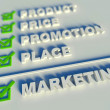 3d marketing mix concept with keywords — Stock Photo