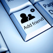 Keyboard and Add friend button, social network concept — Stock Photo