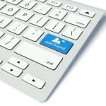 tangentbord och blå Lägg till vän knapp, sociala nätverk koncept — Stockfoto #11304588