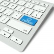 Keyboard and blue Coffee Break button, work concept — Stock Photo