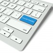 Keyboard and blue Social media button, internet concept — Stock Photo