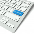 Keyboard and blue Social media button, internet concept - Stock Photo