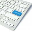 Keyboard and blue Solution button, help concept — Stock Photo