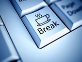 Keyboard and Coffee Break button, work concept — Stock Photo