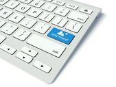Keyboard and blue Add friend button, social network concept — Stock Photo