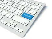 Keyboard and blue Support button, business concept — Stock Photo