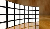White screen video wall of many cubes — Stock Photo