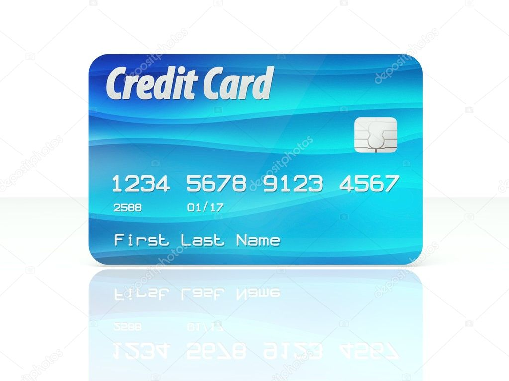 blue credit card template on white background stock photo