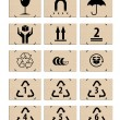 Set of packing icons on the cardboard boxes, symbols — Stockfoto