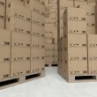 Cardboard boxes on wooden pallets, inside the warehouse — Stock Photo #11480957