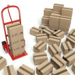 Warehouse hand truck and many cardboard boxes — Stock Photo